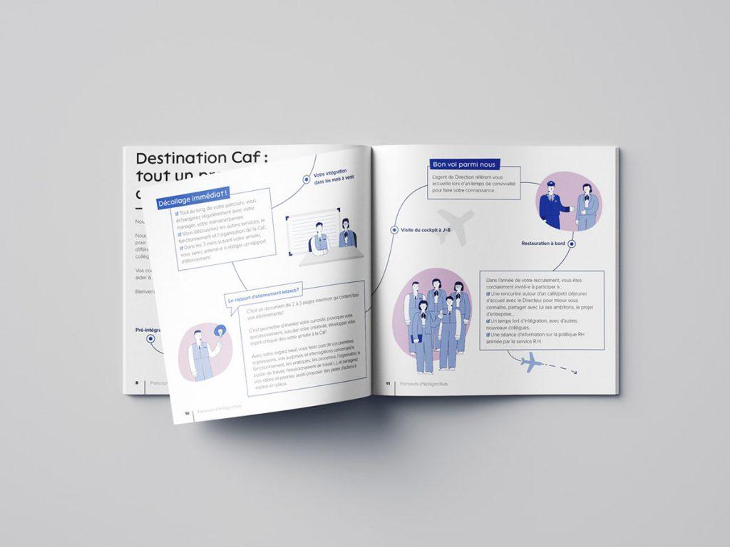 Livret d'accueil de la Caf 64, focus sur les pages du parcours d'intégration des nouvelles recrues