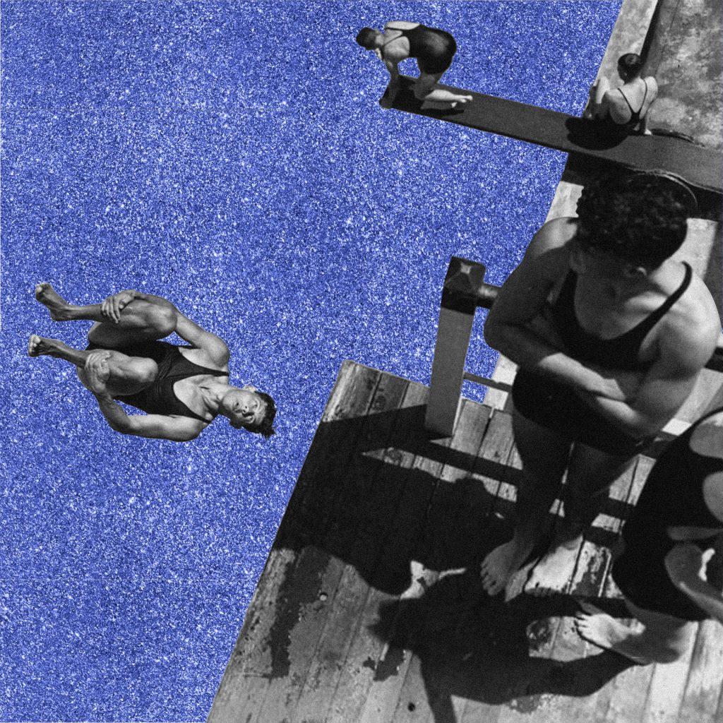 Collage digital, plongeon (photo d'archive et aplat pailletté)