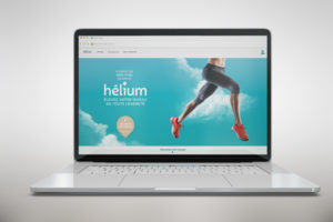 Web design de la page d'accueil du site e-commerce Studio Hélium